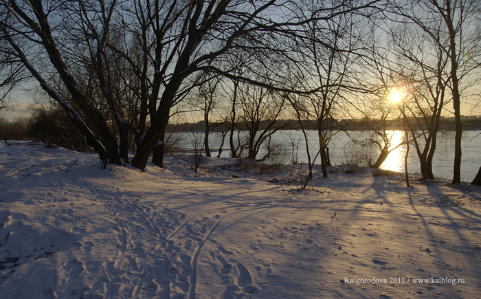 Река Кубань в марте