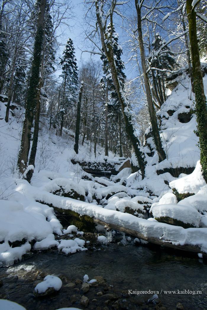 Зима в горах Горячего Ключа