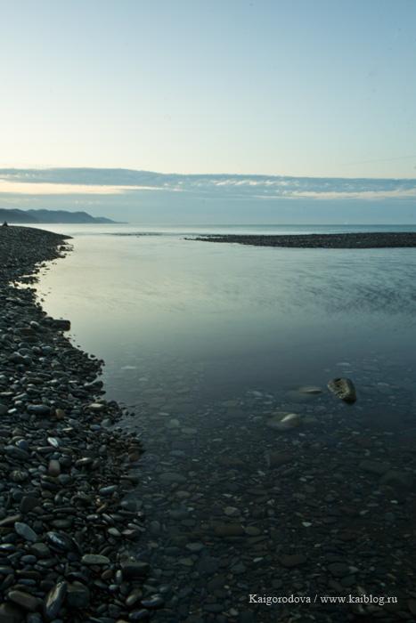 Река Псезуапсе впадает в Черное море. Рассвет